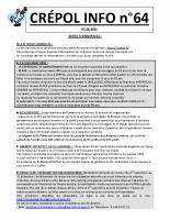 Crépol Info 64 du 7 octobre 2018