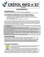 Crépol Info 67 du 1er octobre 2019